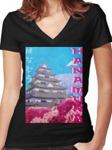 Hanamura Vintage Travel Poster Women's Fitted V-Neck T-Shirt