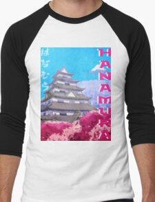 Hanamura Vintage Travel Poster Men's Baseball ¾ T-Shirt