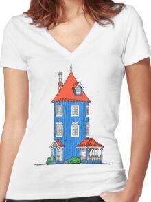 Moomin House Women's Fitted V-Neck T-Shirt