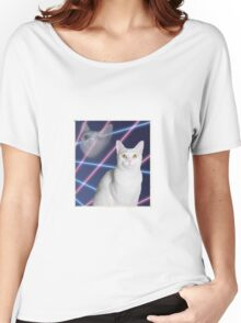 80'S LASER BACKGROUND CAT 2 Women's Relaxed Fit T-Shirt