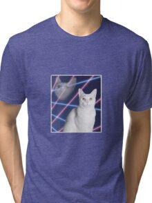 80'S LASER BACKGROUND CAT 2 Tri-blend T-Shirt