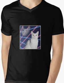 80'S LASER BACKGROUND CAT 2 Mens V-Neck T-Shirt