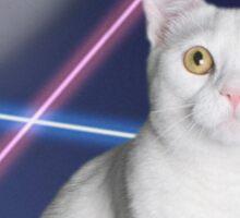 80'S LASER BACKGROUND CAT 2 Sticker