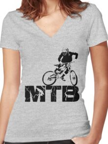 MTB, downhill Women's Fitted V-Neck T-Shirt
