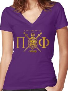 Most Powerful Pi Phi Women's Fitted V-Neck T-Shirt
