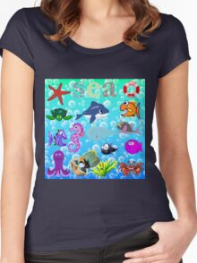 Sea Animals Women's Fitted Scoop T-Shirt