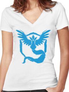 Team Mystic - Grunge Light Blue Women's Fitted V-Neck T-Shirt