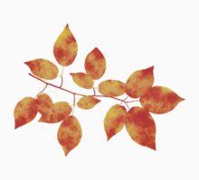 Orange Cherry Leaf Art One Piece - Short Sleeve