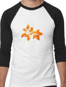 Orange Cherry Leaf Art Men's Baseball ¾ T-Shirt