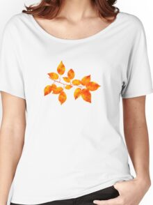 Orange Cherry Leaf Art Women's Relaxed Fit T-Shirt