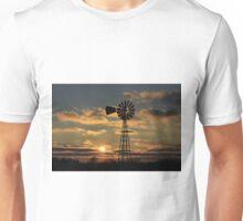 Kansas Windmill Silhouette Sunset Unisex T-Shirt