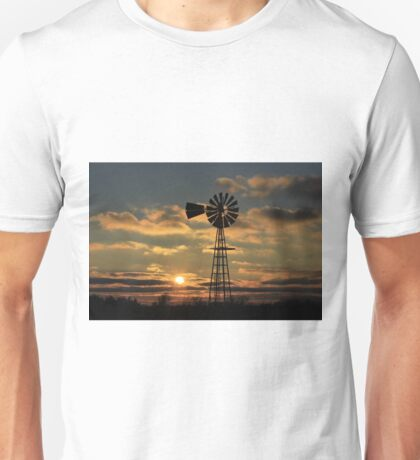 Kansas Windmill Silhouette Sunset Unisex T-Shirt