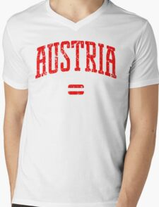 Austria (Red Print) Mens V-Neck T-Shirt