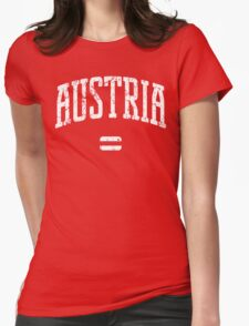 Austria (White Print) Womens Fitted T-Shirt