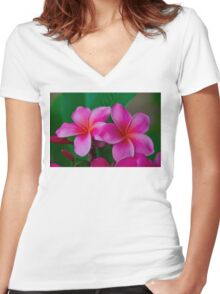 Pink Plumeria 1073 Women's Fitted V-Neck T-Shirt