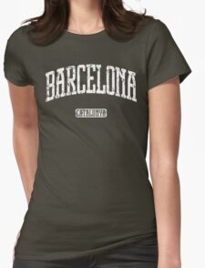 Barcelona (White Print) Womens Fitted T-Shirt