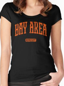 Bay Area Represent (Orange Print) Women's Fitted Scoop T-Shirt