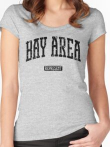 Bay Area Represent (Black Print) Women's Fitted Scoop T-Shirt