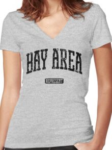 Bay Area Represent (Black Print) Women's Fitted V-Neck T-Shirt