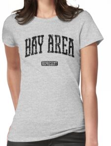 Bay Area Represent (Black Print) Womens Fitted T-Shirt