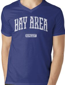 Bay Area Represent (White Print) Mens V-Neck T-Shirt