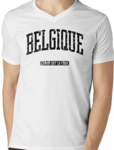 Belgique (Black Print) Mens V-Neck T-Shirt