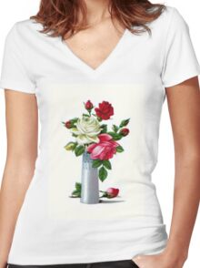 Vintage Roses Women's Fitted V-Neck T-Shirt