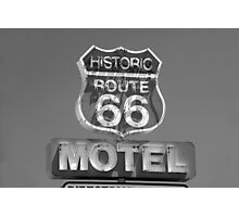 Route 66 motel sign Photographic Print