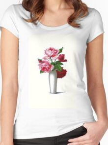 Vintage Red and Pink Roses Floral Women's Fitted Scoop T-Shirt