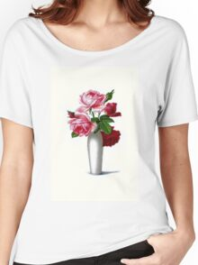 Vintage Red and Pink Roses Floral Women's Relaxed Fit T-Shirt