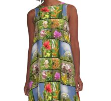 Tropical Flowers Collage Plumeria Hibiscus Soft Focus A-Line Dress