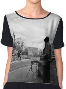 Artist at work - Notre Dame - Paris, France Chiffon Top
