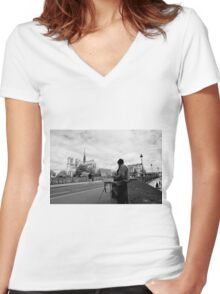 Artist at work - Notre Dame - Paris, France Women's Fitted V-Neck T-Shirt