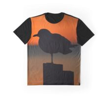 Seagull's Silhouette At Dawn | Sayville, New York Graphic T-Shirt