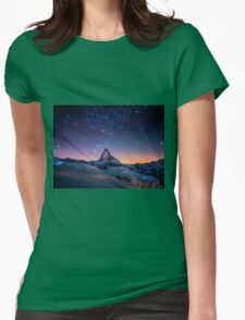 Montain Galaxy Womens Fitted T-Shirt