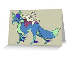 Blue Flower Fox with Yellow Lily Greeting Card
