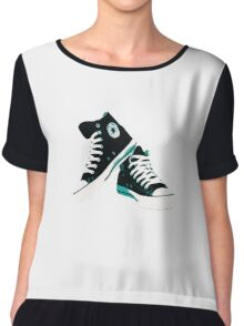 Black Converse  Chiffon Top