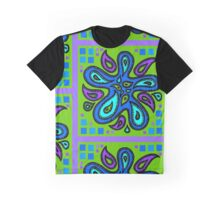 Blue Swirl on Green Graphic T-Shirt