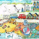 1950 Seaside Scene THE BLUE ONE by doatley