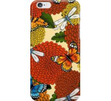 Flowers, Dragonflies, and Butterflies iPhone Case/Skin