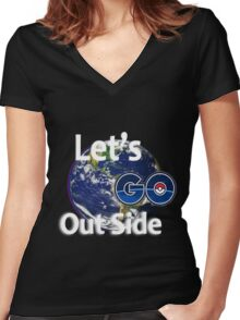 Let's Go Outside Pokemon Go Women's Fitted V-Neck T-Shirt