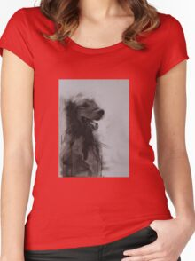 Golden Retriever Portrait, Black and White Drawing Women's Fitted Scoop T-Shirt