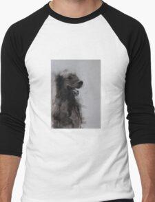Golden Retriever Portrait, Black and White Drawing Men's Baseball ¾ T-Shirt