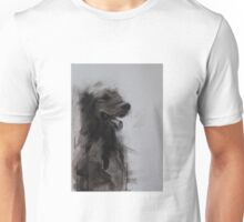 Golden Retriever Portrait, Black and White Drawing Unisex T-Shirt