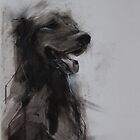 Golden Retriever Portrait, Black and White Drawing by melanieroy