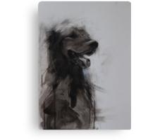 Golden Retriever Portrait, Black and White Drawing Canvas Print