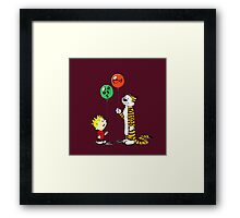 calvin and hobbes ballon Framed Print