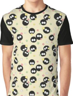 Ghibli Inspired Soot Sprites with Candy Pattern Graphic T-Shirt