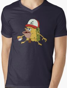 Spongegar Ash Hat Poke Trainer Funny Meme Mens V-Neck T-Shirt