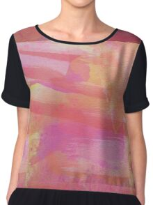 Pink Red Orange Abstract Watercolor Chiffon Top